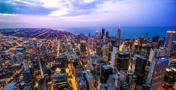 city lights sunset