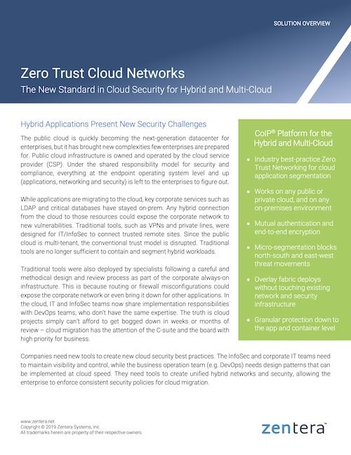Zentera Solution Overview - Zero Trust Cloud Networks Q12019