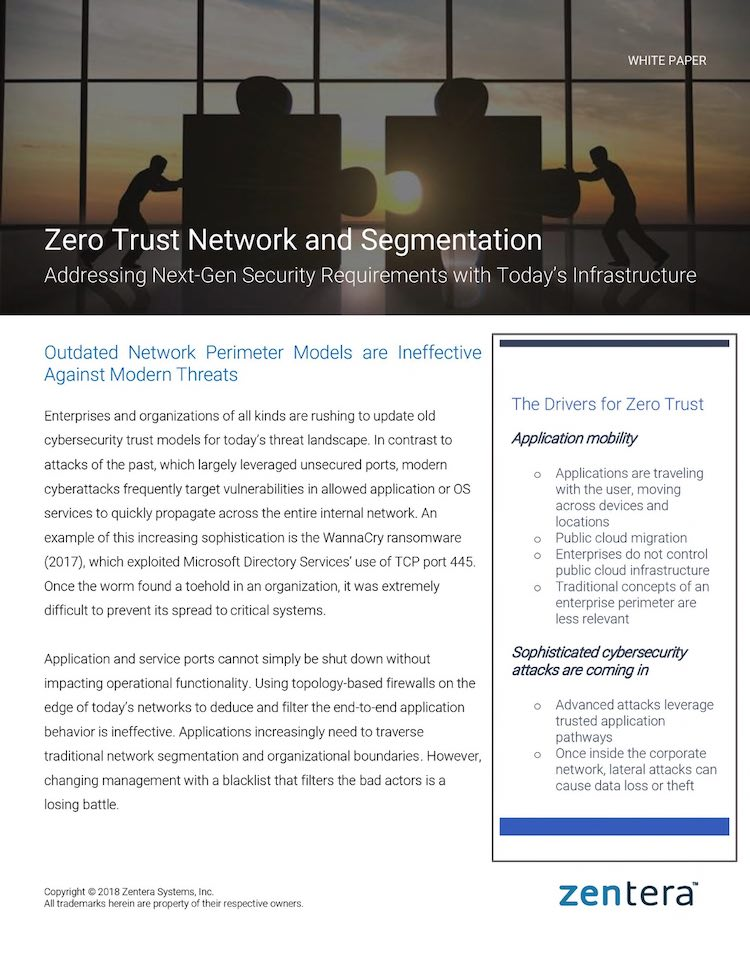 Zentera Whitepaper - Zero Trust Network and Segmentation thumbnail